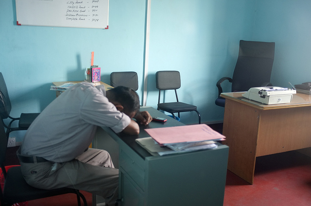 sleeping at desk